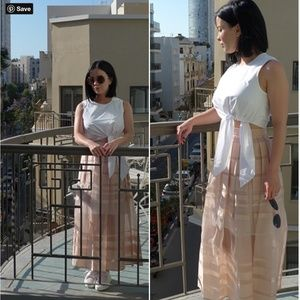 Tibi Pink Striped Midi Skirt - Size 0